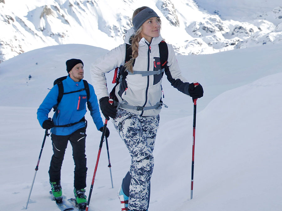 Ski touring in a snowy landscape